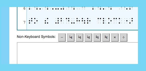 Image showing buttons used to add special symbols for braille to print translation